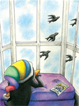Penguin in the Window by Andrea Badger