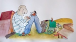 """Illustration from """"Tea with an Old Giant"""" by Deanne Sander"""