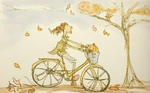 Girl with pumpkin on a bike - illustration by Deanne Sander