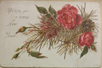 Roses and Pine New Year's Card by Leila Mason Turner