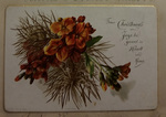 Orange Flowers Christmas Card. by Leila Mason Turner